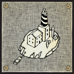 lighthouse woodcut
