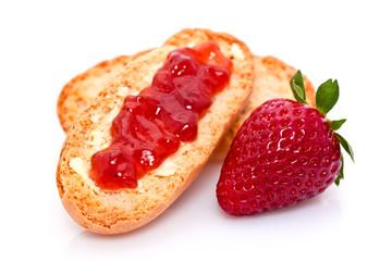 Tartine à la confiture de fraise