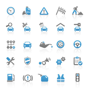 Blue Gray Web Icons - Car & Workshop - Set 10