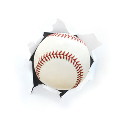 Baseball Bursting Though a Hole