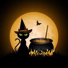 Halloween cat and cauldron