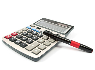 calculator and a pen
