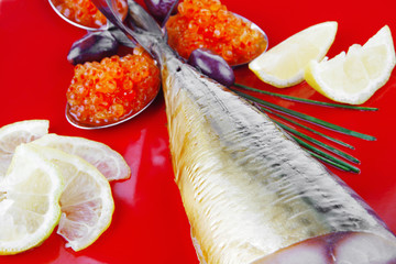 fish on red plate