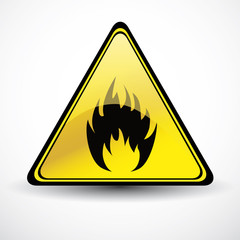 Glossy Fire danger sign