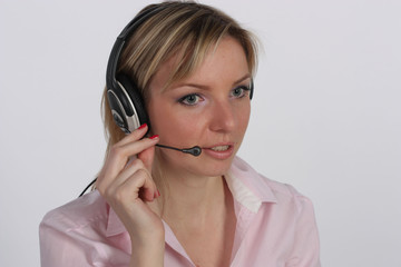 Young business woman with headset