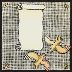 pigeons letter woodcut