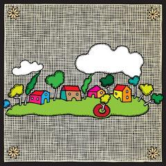 village landscape woodcut