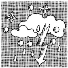 weather symbols woodcut
