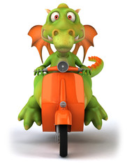 Dragon en scooter