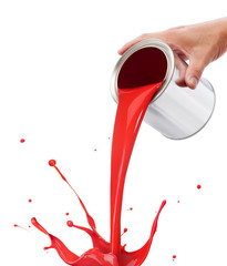 Fototapete - pouring red paint
