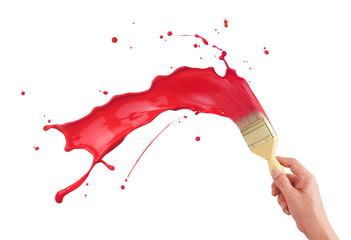 Fototapete - red paint splashing