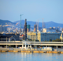 city and port of barcelona from mediterranean sea