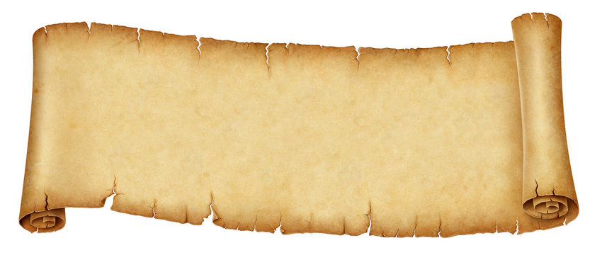 Old banner scroll isolated on white background