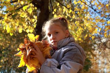The girl in autumn park