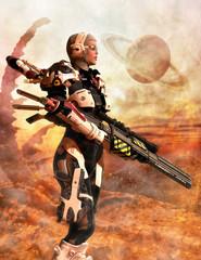 Futuristic soldier woman