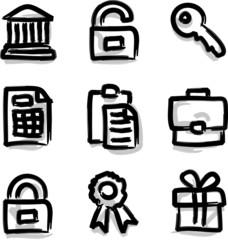 Vector web icons marker contour financial