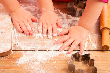 little girls baking and having fun, hands only