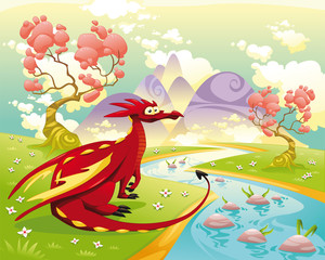 Canvas Prints River, lake Dragon in landscape. Vector illustration, isolated objects.