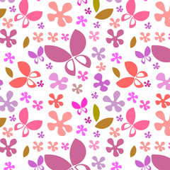 butterflies and flowers vector seamless repeat pattern