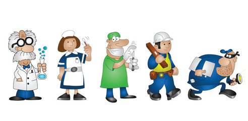 cartoon professionals scientist doctor nurse builder burglar