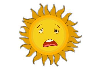 Tired Sun Cartoon Character Illustration in Vector