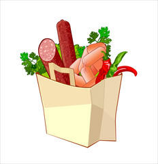 Paper bag with sausage and greengrocery