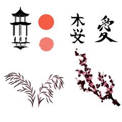 vector illustration with japanese elemetts for design