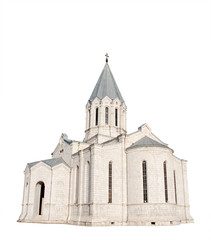 medieval church isolated on white
