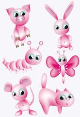 Set:pink animals.