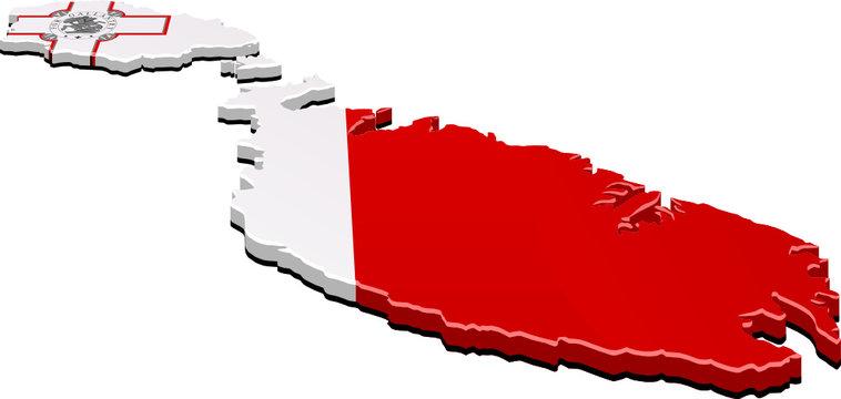 Carte de Malte 3D drapeau (détouré)