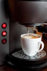 Hot espresso  coffee in a White Cup