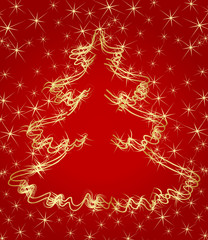 Golden Christmas tree vector background for card or poster