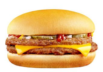 Fototapeta big tasty cheeseburger isolated on white background obraz