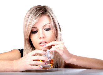 The girl with  glass of whisky