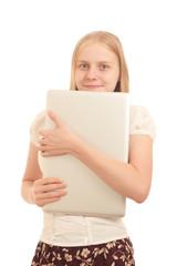 Portrait of Young adorable businesswoman hiding face with laptop