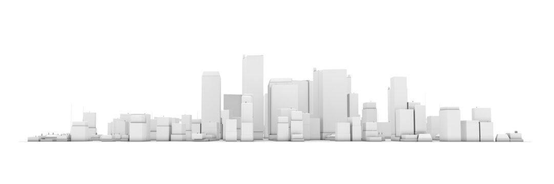 Wide Cityscape Model 3D - White City White Background