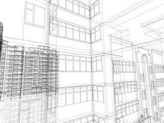 Abstract architectural 3D construction.