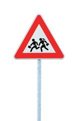 European School Crossing Roadside Warning Sign Isolated