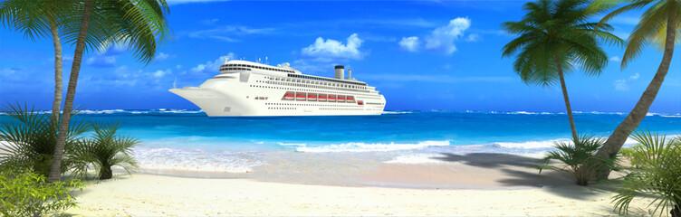 Cruise ship and tropical beach