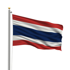 Flag of Thailand waving in the wind in front of white background