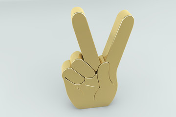 Golden victory hand sign