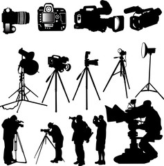 cameraman,photographers and cameras - vector