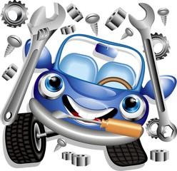 Wall Murals Draw Auto Meccanico Cartoon-Garage Mechanic-Car-Vector