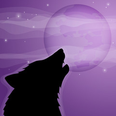 wolf silhouette howling to the full moon