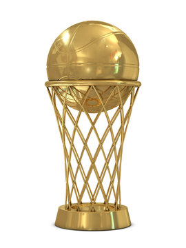 Golden basketball award trophy with ball and net