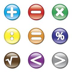 Set de botones brillantes con signos de matematicas