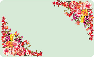 two red floral corners on blue background