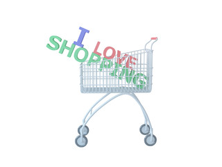 Shopping cart with text, isolated