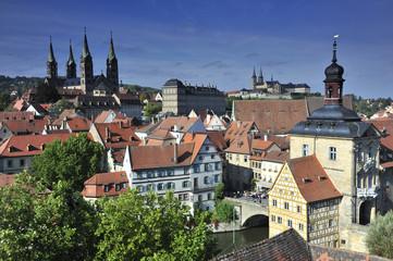 Bamberg, Blick von Schloss Geyerswörth auf Rathaus etc.