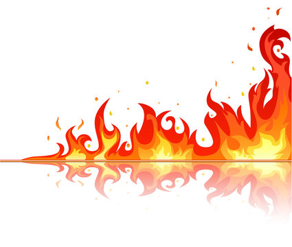 Fire flame on white background